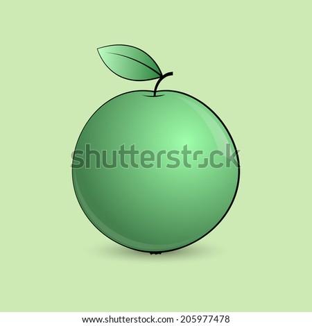 Fresh green apple. Vector illustration isolated on light green background. - stock vector