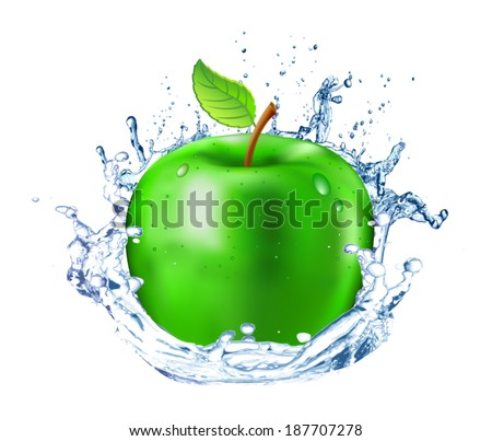 Fresh green apple with drops of water on a white background. Splash of freshness.  Isolated object. Vector.