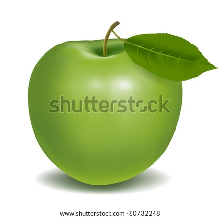 Fresh green apple with green leaf. Vector illustration. - stock vector