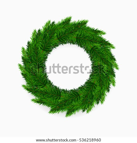 Fresh green blank Christmas wreath on white background