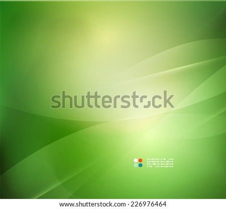 Fresh green blur wave and colors, abstract background - stock vector