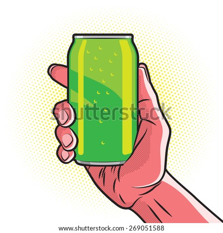 Fresh Green Drink Can in Hot Red Hand - stock vector