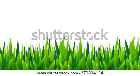 Fresh green grass seamless border, isolated over white, vector illustration - stock vector
