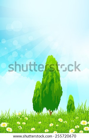Fresh green grass with yellow bokeh and Trees and flowers. Beauty natural background - stock vector