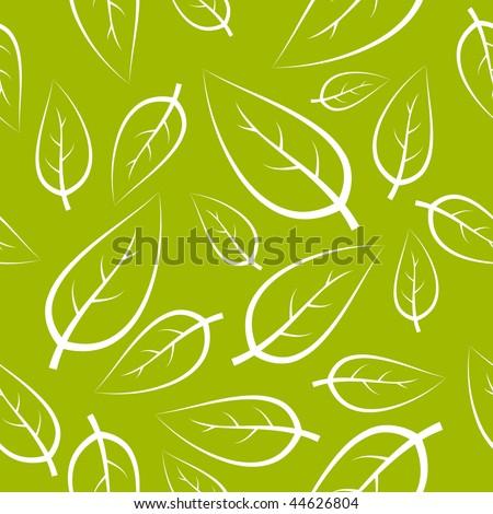Fresh green leafs texture - seamless pattern - stock vector