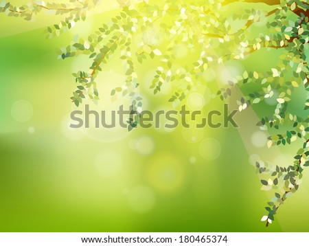 Fresh green leaves on natural background. - stock vector
