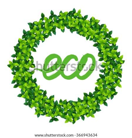 fresh green leaves vector decorative frame vignette - stock vector