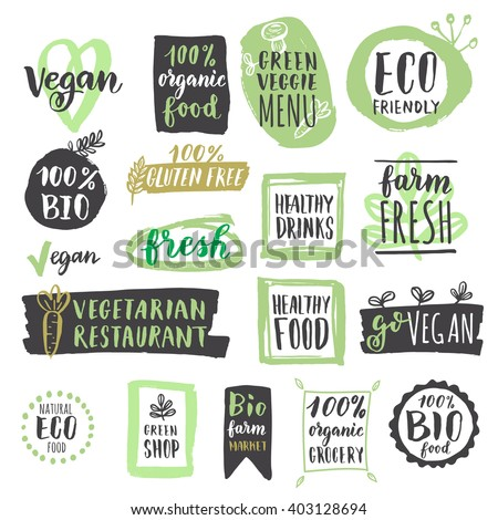 Fresh healthy organic vegan food logo labels and tags. Vector hand drawn illustration. Vegetarian eco green concept - stock vector