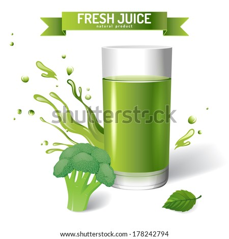 Fresh juice background with broccoli - stock vector