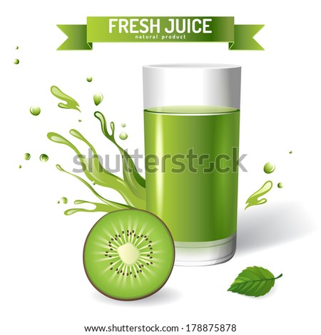 Fresh juice background with kiwi - stock vector