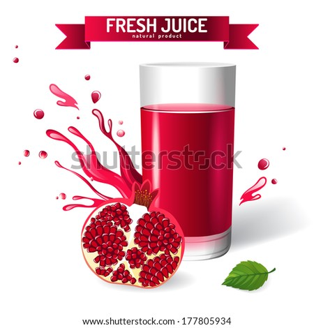 Fresh juice background with pomegranates and mint - stock vector