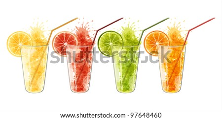 Fresh juice from citrus fruits in a glass isolated on white background. EPS10 - stock vector