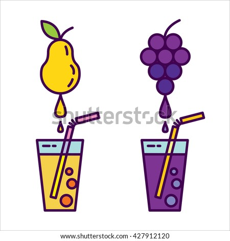 Fresh juice. Icon set, natural juices from fruits. Grape juice, pear juice. - stock vector