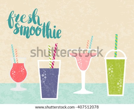 Fresh juice made in flat style. Fruit smoothie. Healthy life concept. Organic raw shake. Vector smoothie with text fresh smoothie. Fresh and tasty. - stock vector
