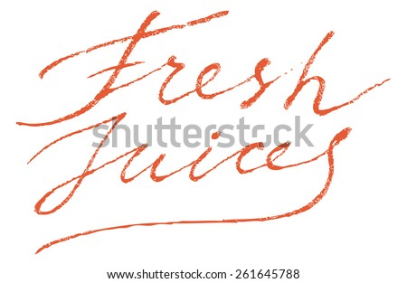 Fresh Juices Modern Brush Lettering Calligraphy Background Logotype. - stock vector