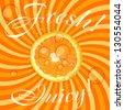 Fresh juicy orange background vector illustration - stock vector