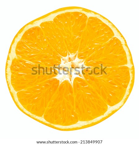 Fresh juicy orange close up on a white background