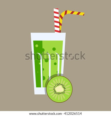 Fresh kiwi juice. Kiwi juice on grey background. Kiwi smoothies in a glass. Kiwi juice with tubule. Fresh juice for menu in cafe. Fresh kiwi juice in a glass. Summer drink with tubule. Cold juice