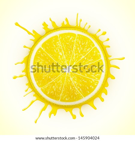fresh lemon with splash eps10 vector illustration - stock vector