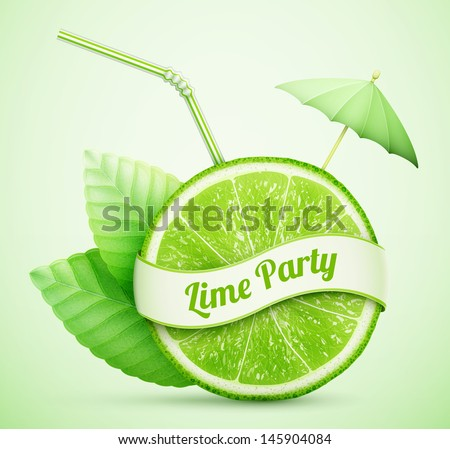 fresh lime with ribbon and cocktail stick eps10 vector illustration - stock vector