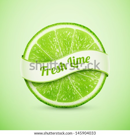 fresh lime with ribbon eps10 vector illustration