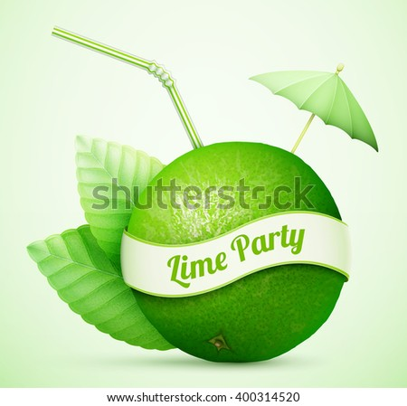Fresh lime with umbrella and stick eps10 vector illustration - stock vector