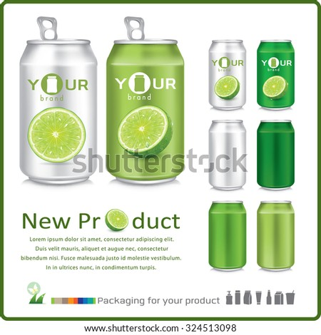 Fresh limes with can for your design. Vector illustration - stock vector