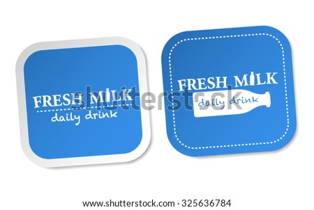 Fresh Milk Stickers - stock vector