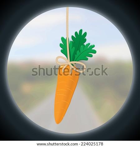Fresh motivation carrot helps to reach a faraway goal. - stock vector