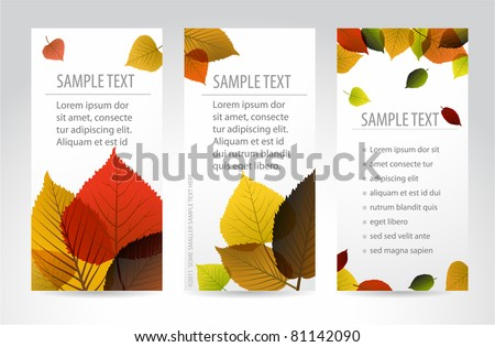 Fresh natural fall vertical banners with leafs and sample text - stock vector