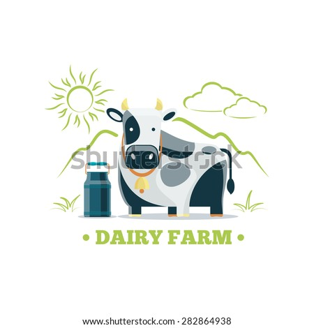 Fresh natural milk eco farm logo with cow. Food nature organic drink, cattle and animal. Vector illustration - stock vector