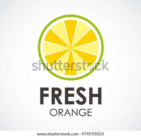 Fresh orange of fruit abstract vector and logo design or template round business icon of company identity symbol concept