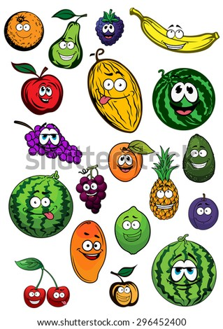 Fresh orange, pear, blackberry, banana, apple, melon, grapes, watermelons, apricots, pineapple, avocado, plum, lemon, mango and cherry fruits cartoon characters - stock vector