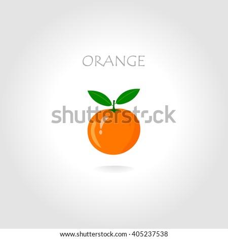 Fresh orange vector illustration with text title. Orange cartoon style. Orange freshness. Orange in the sun light. Orange in the center. Orange on the grey background. - stock vector