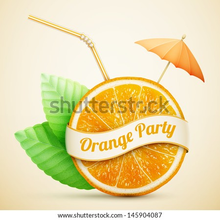 fresh orange with ribbon and cocktail stick eps10 vector illustration