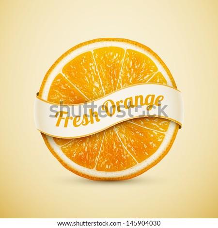 fresh orange with ribbon eps10 vector illustration - stock vector