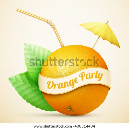 Fresh orange with umbrella and stick eps10 vector illustration - stock vector