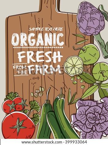 Fresh organic farm vegetables on wood - stock vector
