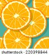 Fresh pattern with orange slices - stock vector