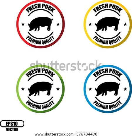 Fresh pork, Button, label and sign - Vector illustration