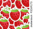 Fresh red strawberry seamless background - stock vector
