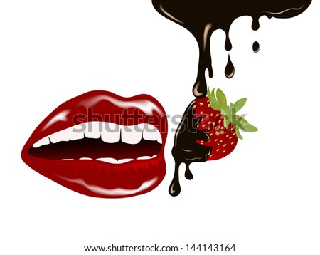 Fresh red strawberry with chocolate in mouth