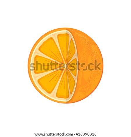 Fresh ripe orange isolated on white background, juicy orange icon, illustration. - stock vector