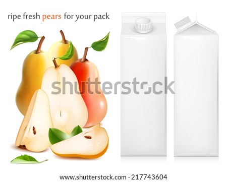Fresh ripe pears with green leaves. Juice white carton package. Vector illustration - stock vector