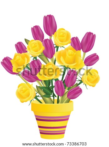 Fresh roses and tulips in flowerpot, vector - stock vector