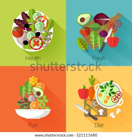 Fresh salad banners. Vegetable and avocado, product natural, eating cabbage and carrot, vitamin nutrition diet. Vector illustration - stock vector