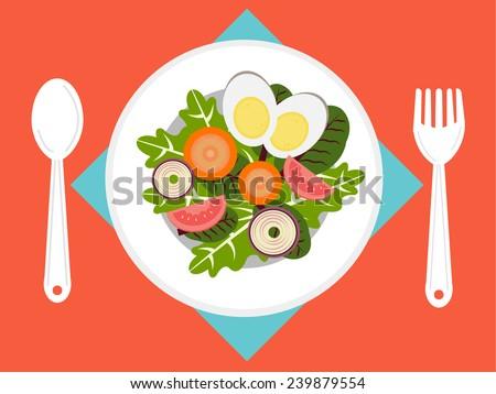 Fresh Salad on dish - stock vector