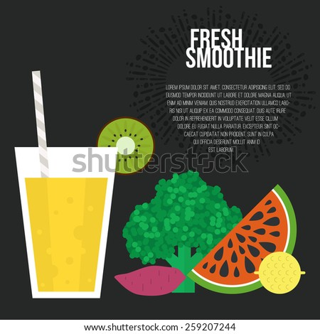 Fresh smoothie vector concept. Menu element for cafe or restaurant with energetic fresh drink made in flat style. Fresh juice for healthy life. Organic raw shake.  - stock vector
