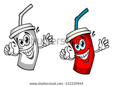 Fresh soda drink with straw in cartoon style. Jpeg version also available in gallery - stock vector
