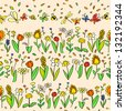Fresh spring cartoon flowers seamless pattern in pastel colors, vector - stock photo